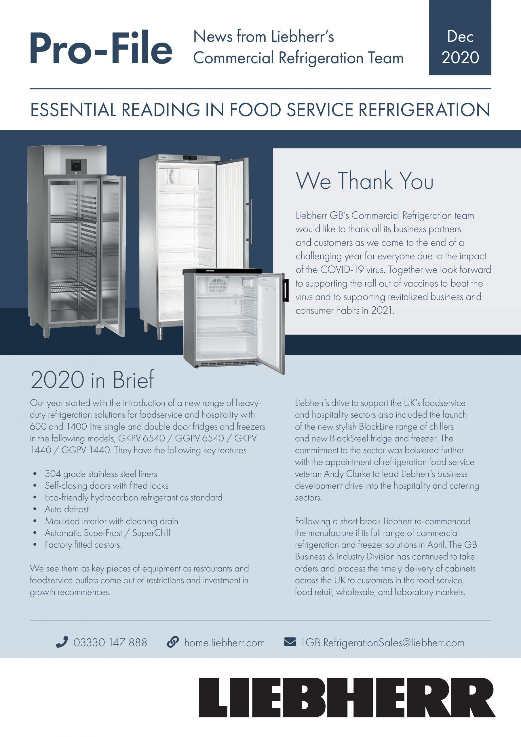 Liebherr Refrigeration Newsletter image from December 2020 Pro-File edition